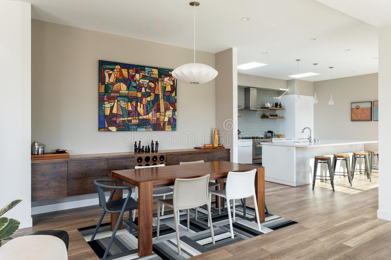 Modern home design, dining room, kitchen, home interiors stock photo