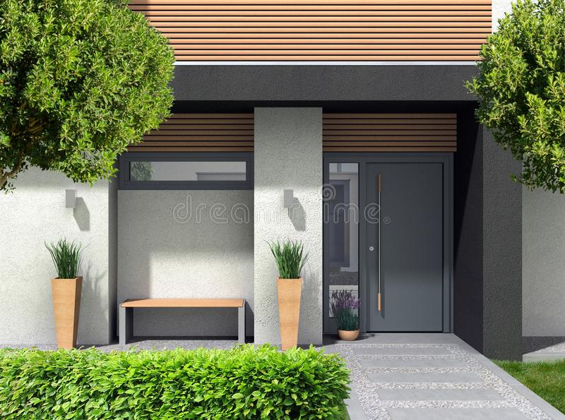 Modern home entrance with door and front yard. FICTITIOUS 3D rendering of a modern home facade with entrance, front door oand front yard stock illustration