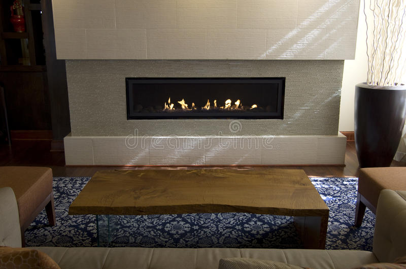 Modern home fireplace royalty free stock image