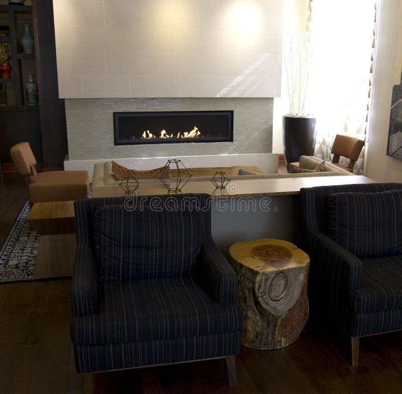Modern home furniture fireplace stock photo