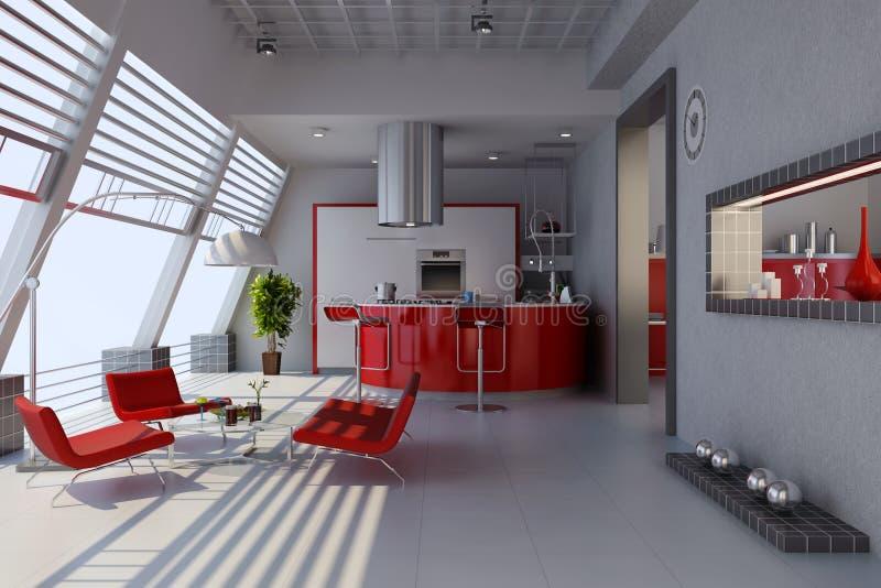 Modern home interior royalty free illustration
