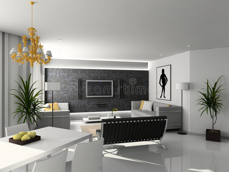 Modern home interior. Living-room with the modern furniture. 3D render. Interior with TV set stock illustration