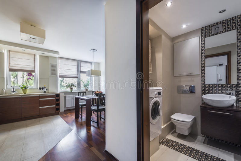 Download Modern Home Interior With Kitchen And Bathrom Stock Image - Image: 26808735