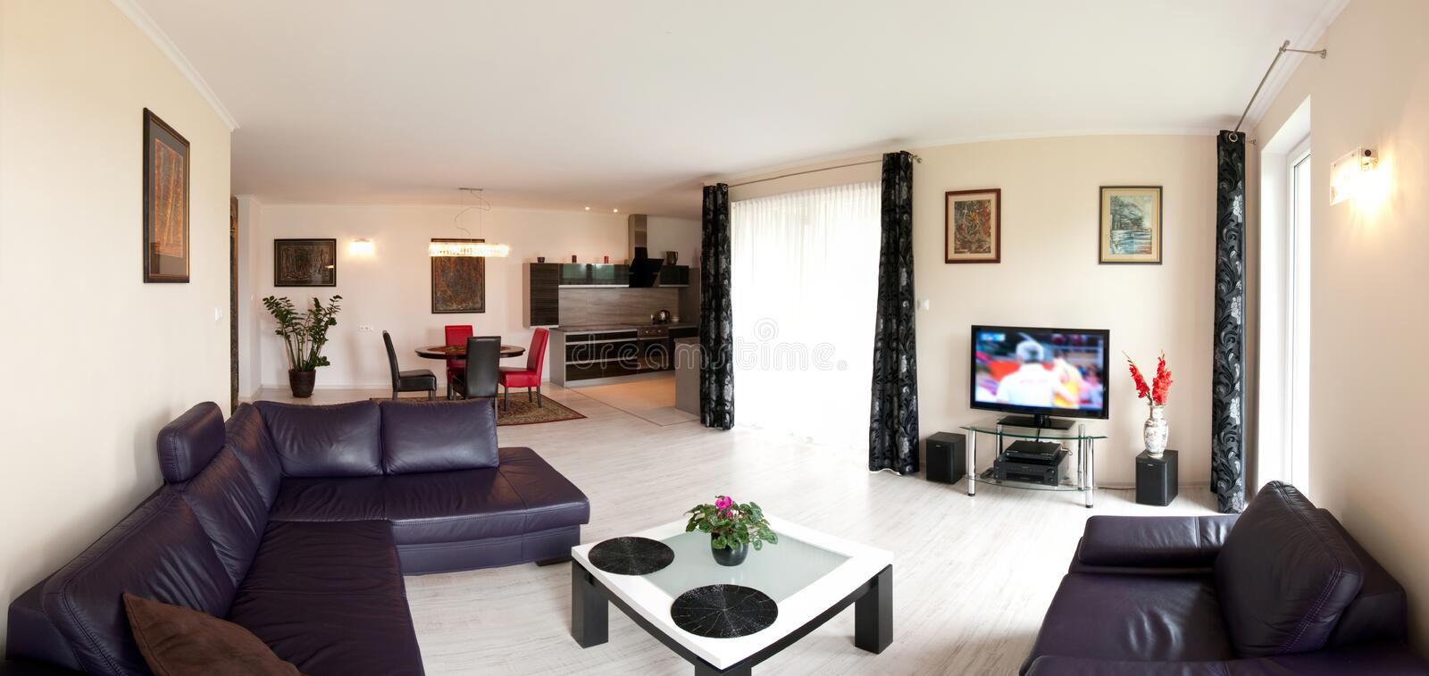 Modern home interior. Interior of modern home with leather furniture and white walls stock photography