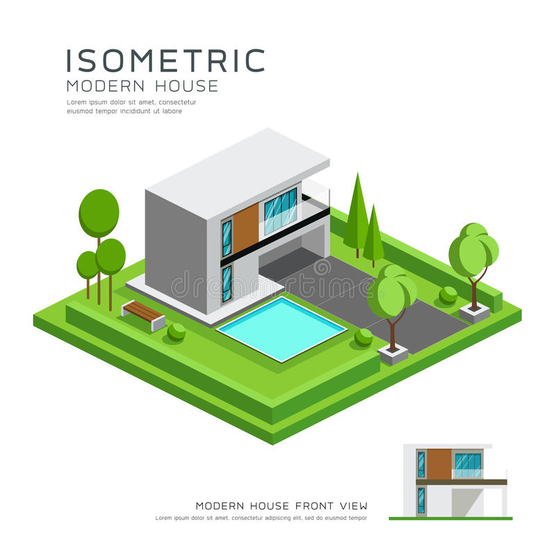 Modern home isometric with lawn design vector illustration