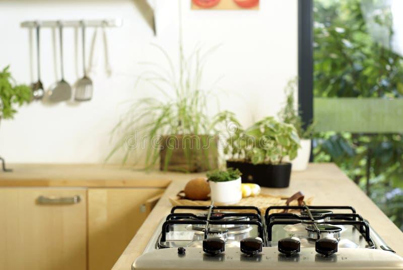 Modern home kitchen interior stock image