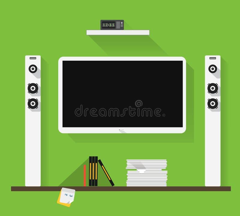 Modern home media entertainment system. Illustration royalty free illustration
