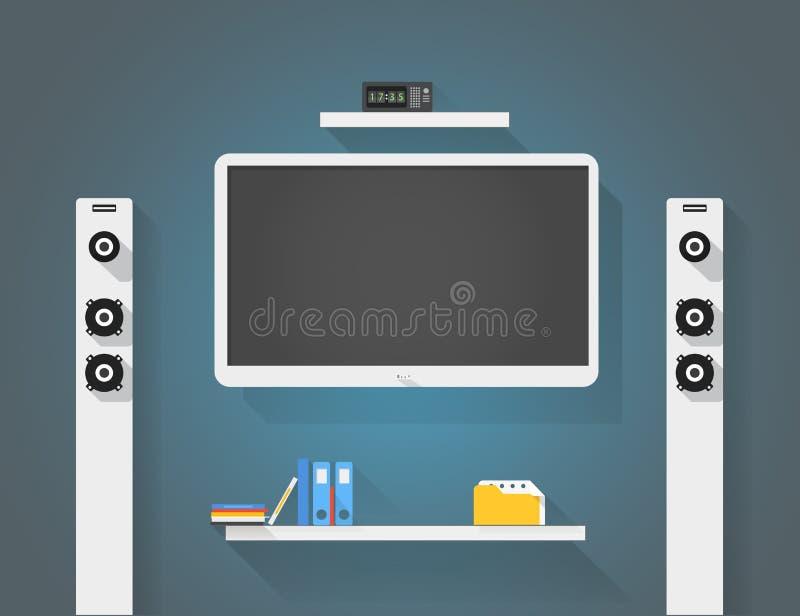 Modern home media entertainment system illustration. Modern home media entertainment system vector illustration royalty free illustration