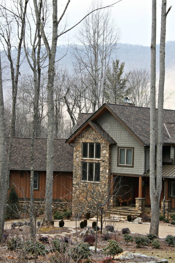 Modern Home In The Mountains. Modern home in the rural setting of North Carolina Mountains stock image
