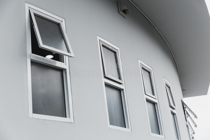 Modern home office aluminium push windows. stock images