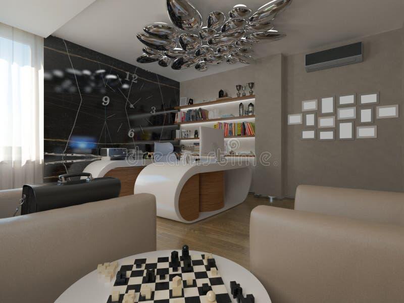 Modern home office. 3d render modern home office stock illustration