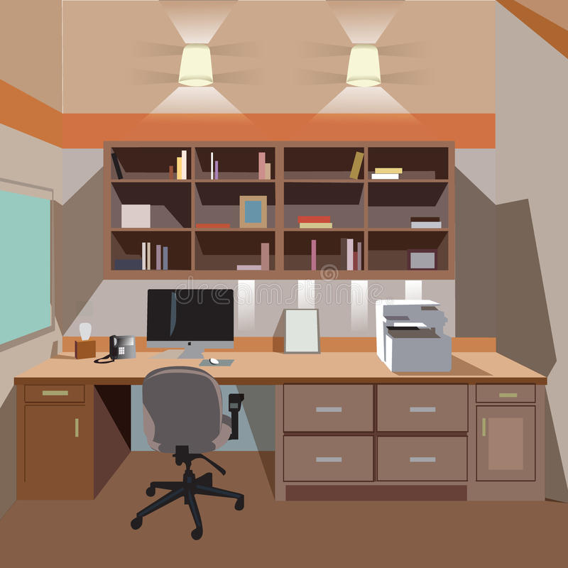 Modern home office interior with desktop. And printer royalty free illustration