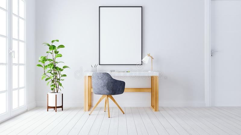 Modern home office work space 3d render 3d illustration stock illustration