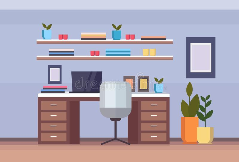 Modern home office workplace cabinet empty no people house living room interior freelance concept flat horizontal royalty free illustration