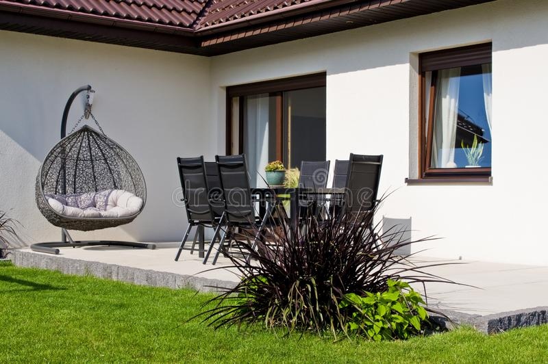Modern private house terrace design in summer stock images