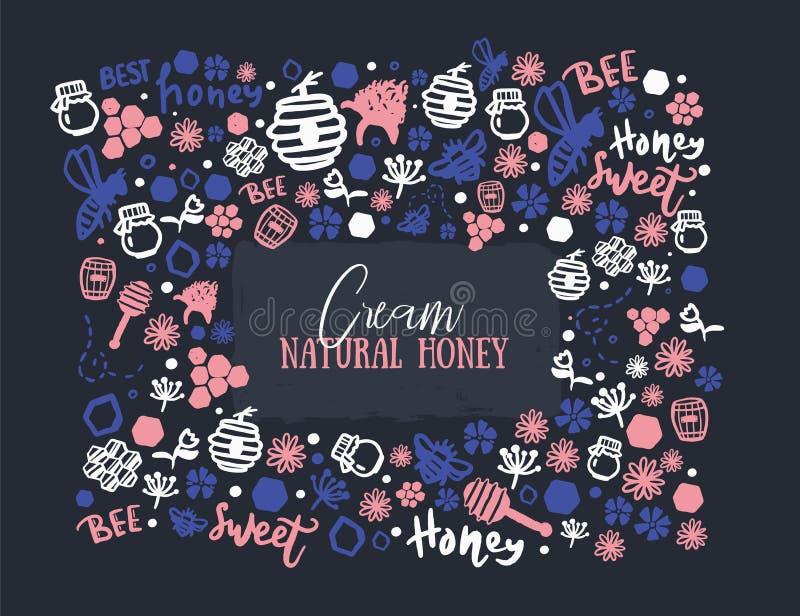 Modern honey banner .Grunge yellow advertising for natural cosmetics on dark background. Organic design template. stock illustration