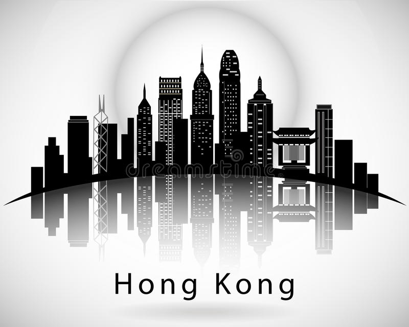 Modern Hong Kong City Skyline Design stock illustratie