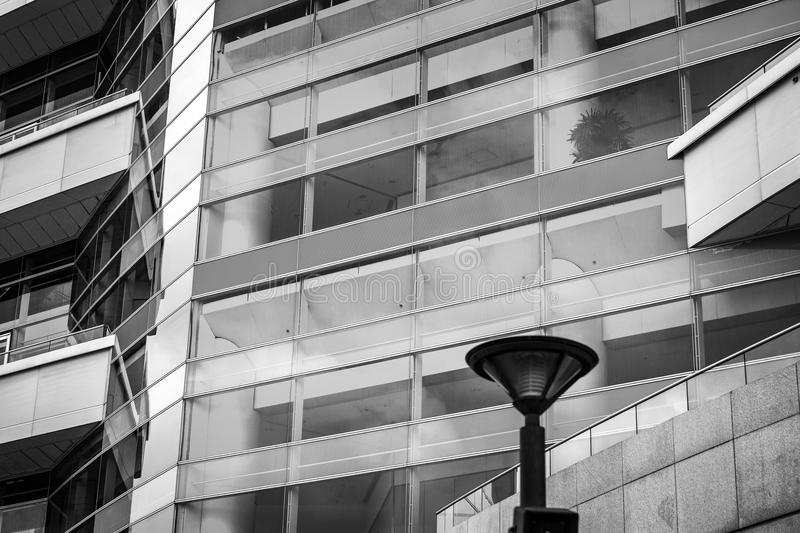 Modern Commercial Building close up view. Modern Hong Kong Commercial Building at close up view stock photo