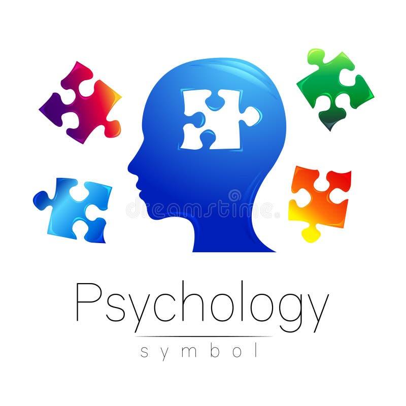 Modern hoofdembleemteken van Psychologie Raadsel Profielmens Creatieve stijl Symbool in vector Het Concept van het ontwerp merk stock illustratie