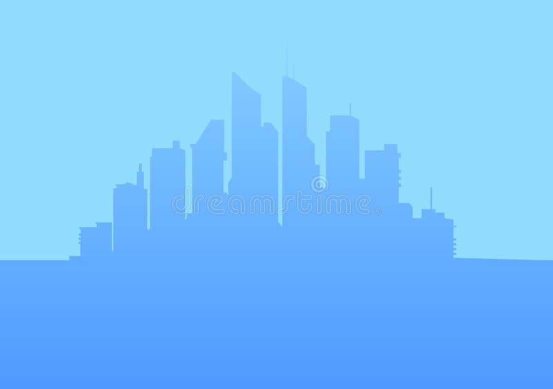 modern horisont för stad också vektor för coreldrawillustration royaltyfri illustrationer
