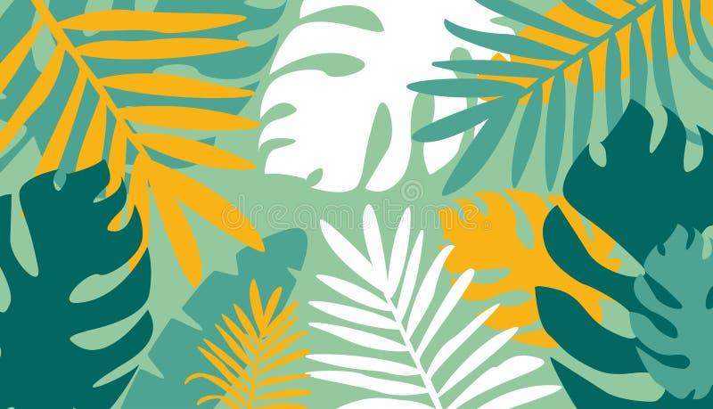 Modern horisontalnaturlig abstrakt färgrik bakgrund med tropiska sidor och att klottra på grön bakgrund stock illustrationer