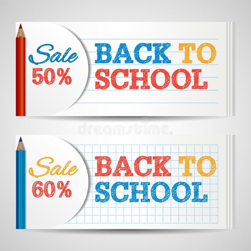 Modern horizontaal bannersmalplaatje met terug naar Schoolhand getrokken teksten vector illustratie