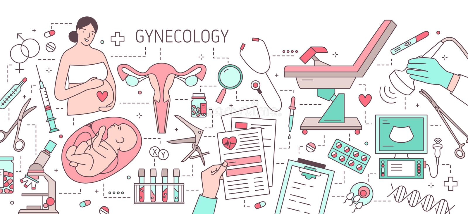 Modern horizontal banner with pregnant woman, fetus in womb, uterus, gynecological examination chair and medical. Equipment. Gynecology and obstetrics. Colorful vector illustration