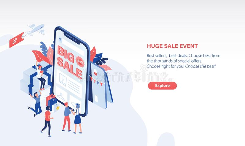 Modern horizontal web banner template with people standing in front of giant smartphone with Big Sale text on screen. Online shopping, internet discount royalty free illustration