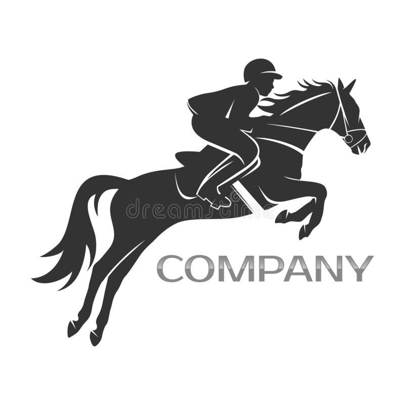 Modern horse with rider logo. This vector is scaled to large sizes royalty free illustration