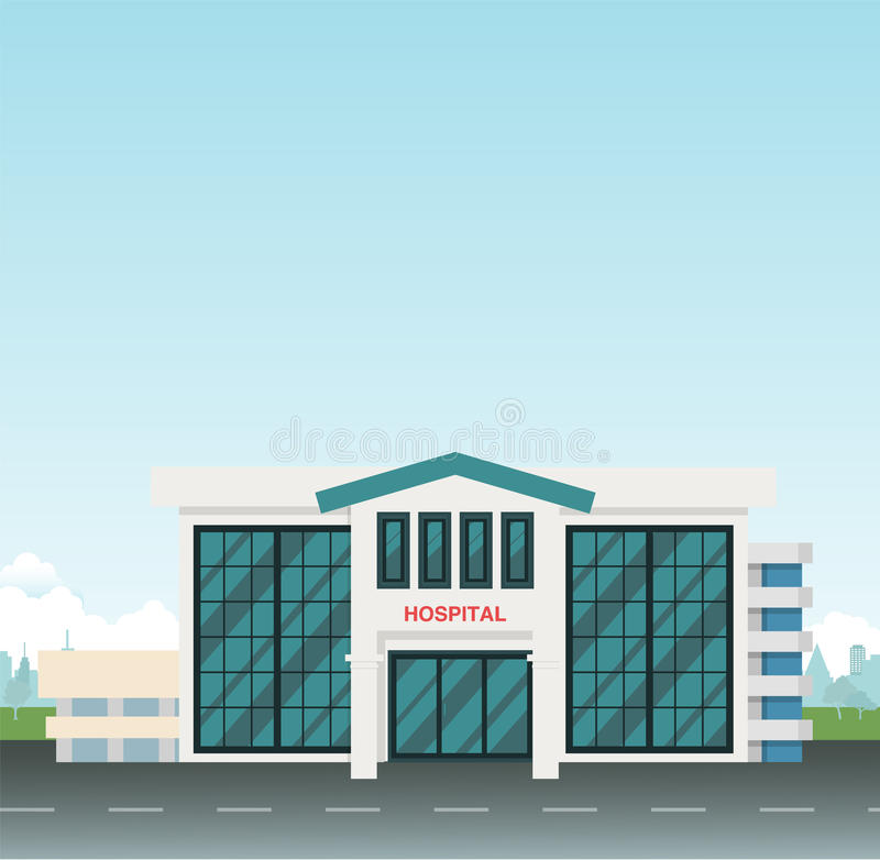 Modern Hospital on main street at city with sky. Background vector illustration.Hospital scene in city royalty free illustration