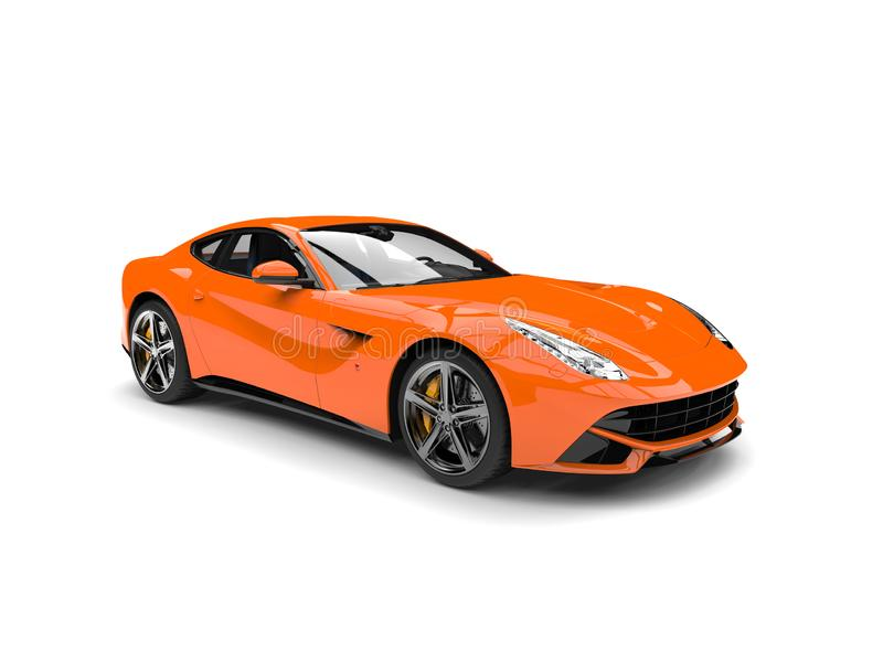 Modern hot orange fast concept car. Isolated on white background vector illustration