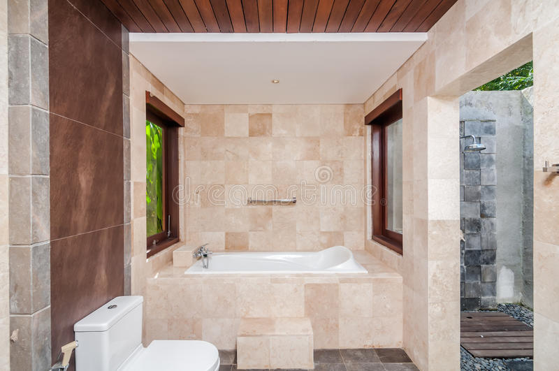 Modern hotel bathroom and shower outdoor stock images