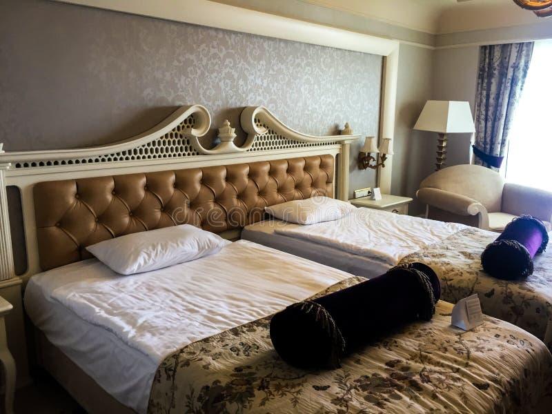 Modern hotel bedroom interior stock photo