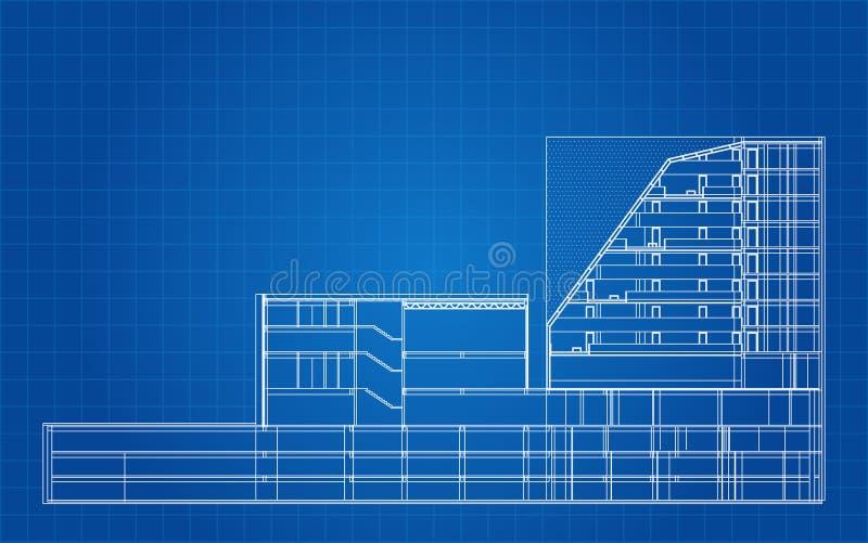Modern Hotel die Architecturale Blauwdruk bouwen royalty-vrije illustratie