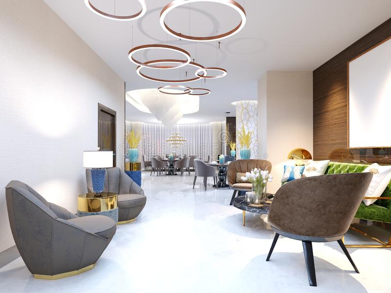 A modern hotel with a reception area and lounge with large upholstered designer chairs and a large chandelier of golden rings. 3d rendering stock illustration