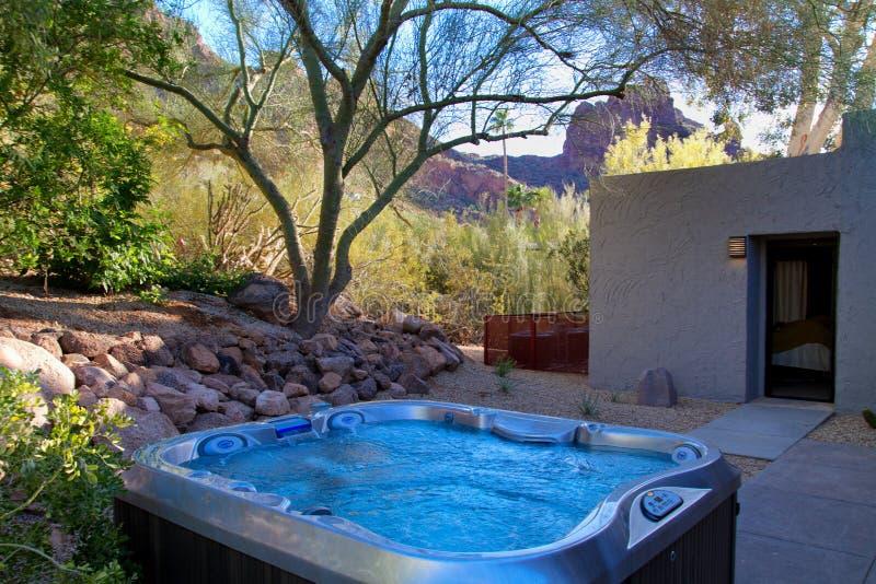 Modern Hotel Resort Hot Tub Spa. Modern outdoor hot tub spa at a new Arizona resort stock photo