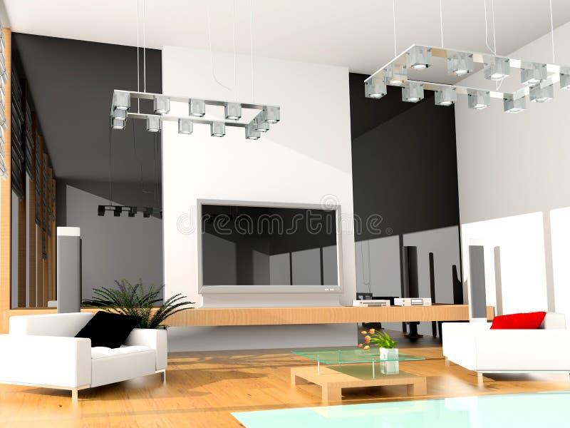 Modern hotel room vector illustration