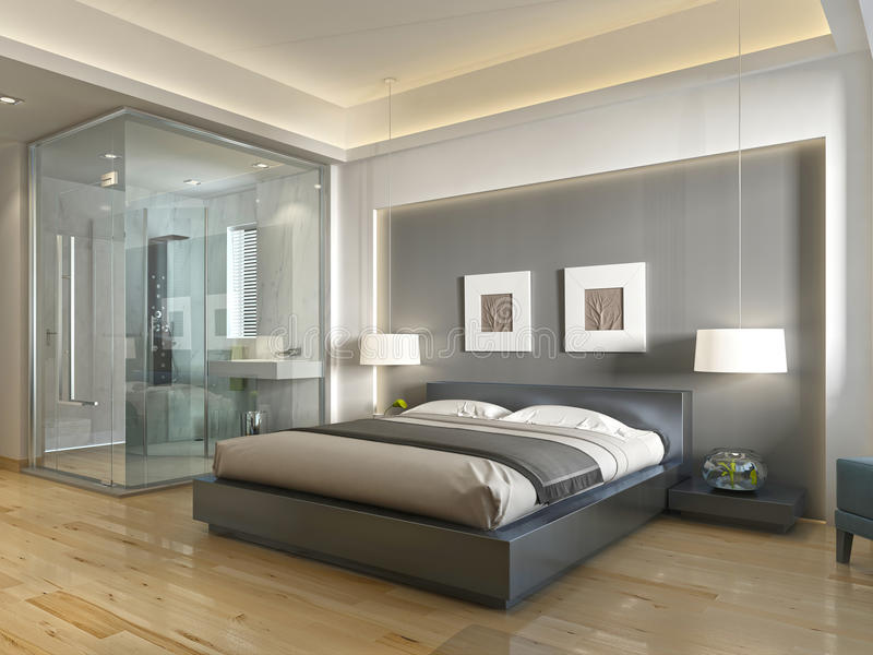 Modern hotel room contemporary style with elements of art Deco. Modern hotel room with large bed, contemporary style with elements of art Deco. Decorative niche vector illustration