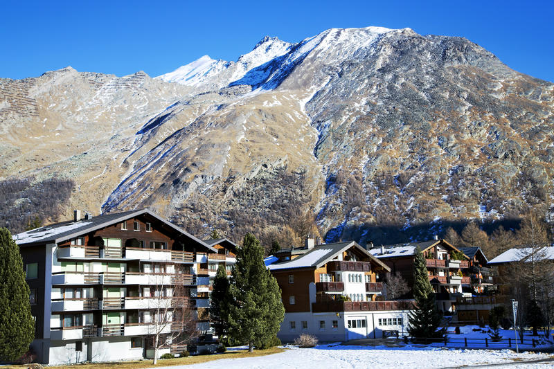 Modern hotels in the charming Swiss resort of Saas-Fee. Modern hotels on a background mountains in the charming Swiss resort of Saas-Fee, Switzerland royalty free stock images