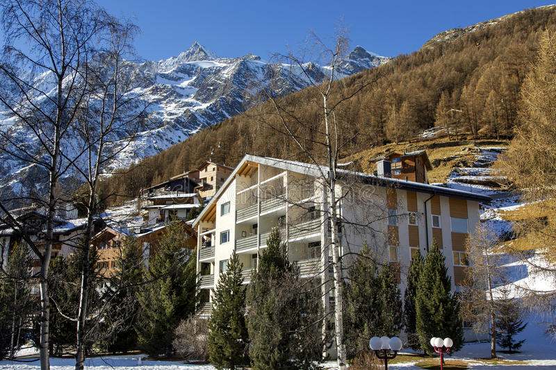 Modern hotels in the charming Swiss resort of Saas-Fee. Modern hotels on a background mountains in the charming Swiss resort of Saas-Fee, Switzerland stock images