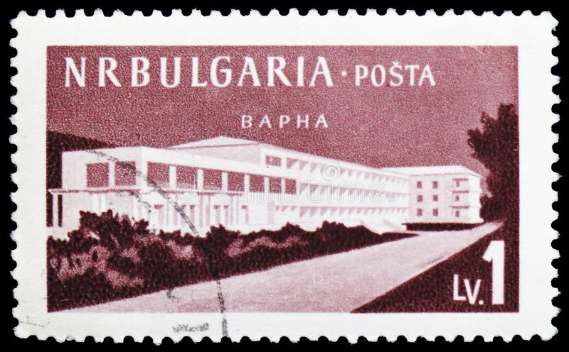 Modern hotels, Varna, Bulgarian Recreation Facilities and Places serie, circa 1958. MOSCOW, RUSSIA - MARCH 23, 2019: Postage stamp printed in Bulgaria shows stock photo