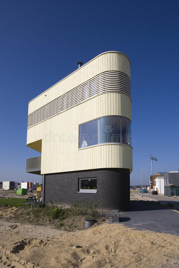 Modern house. New house at construction site Homeruskwartier in Almere, the Netherlands stock photography