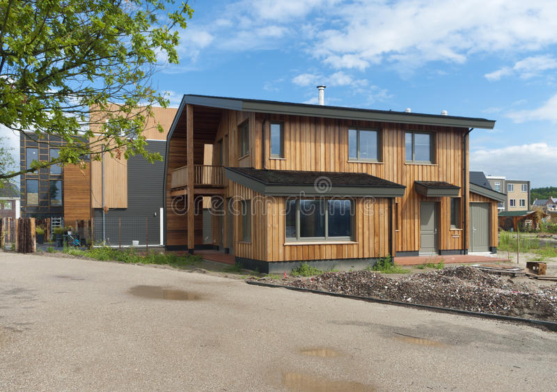 Modern house. Newly build modern wooden house in Almere, netherlands stock photo