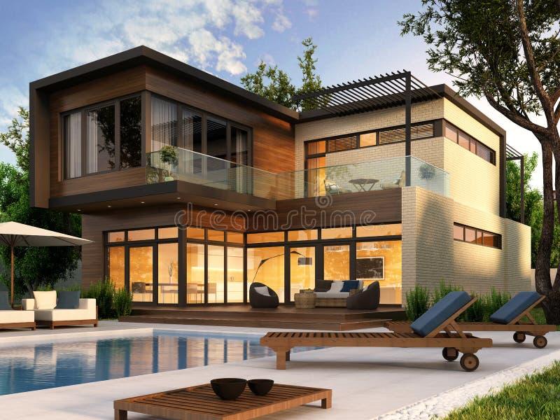 Modern house stock illustration. Illustration of dream - 27558576