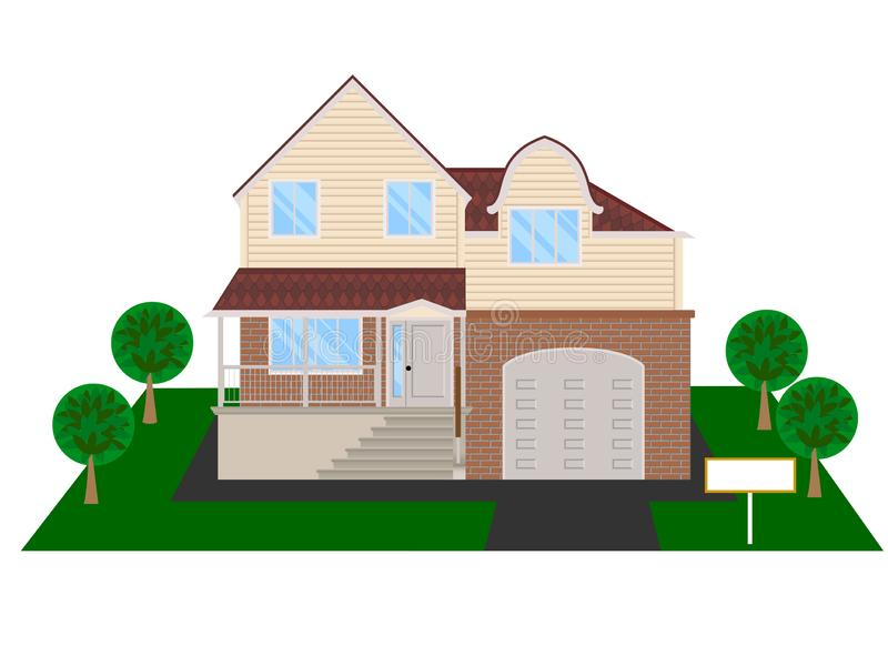 Modern house with attic and garage - vector clipart. Facade of modern house with attic and garage - vector illustration. Theme of real estate or life in the stock illustration
