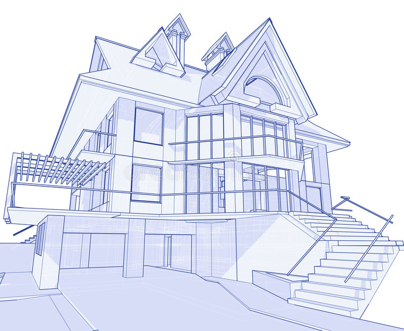 Modern house blueprint stock vector illustration of background 3d blueprint house vector technical draw malvernweather Images