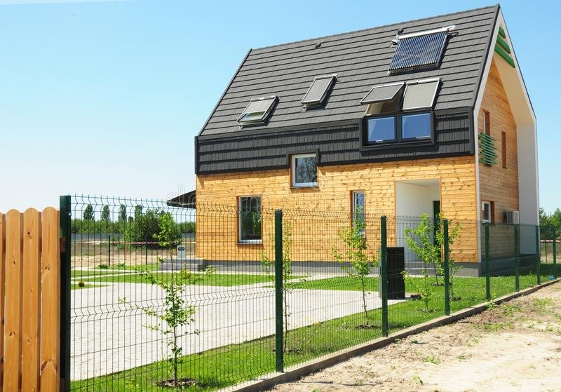Modern House Building with energy saving and energy efficiency. stock photography