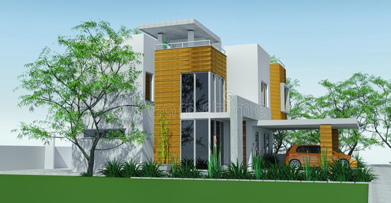 Modern house with carport lawn with mini garden. 3d rendering. royalty free illustration