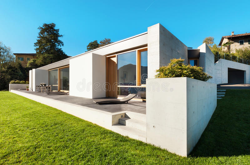 Modern house in cement stock images