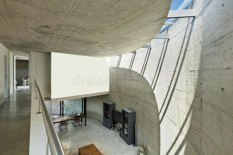 Modern house in cement, interior stock image